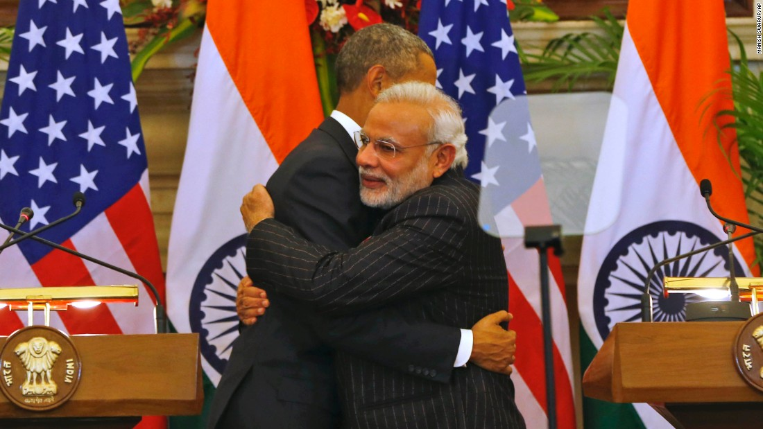 Obama and Modi hug after they jointly addressed the media.