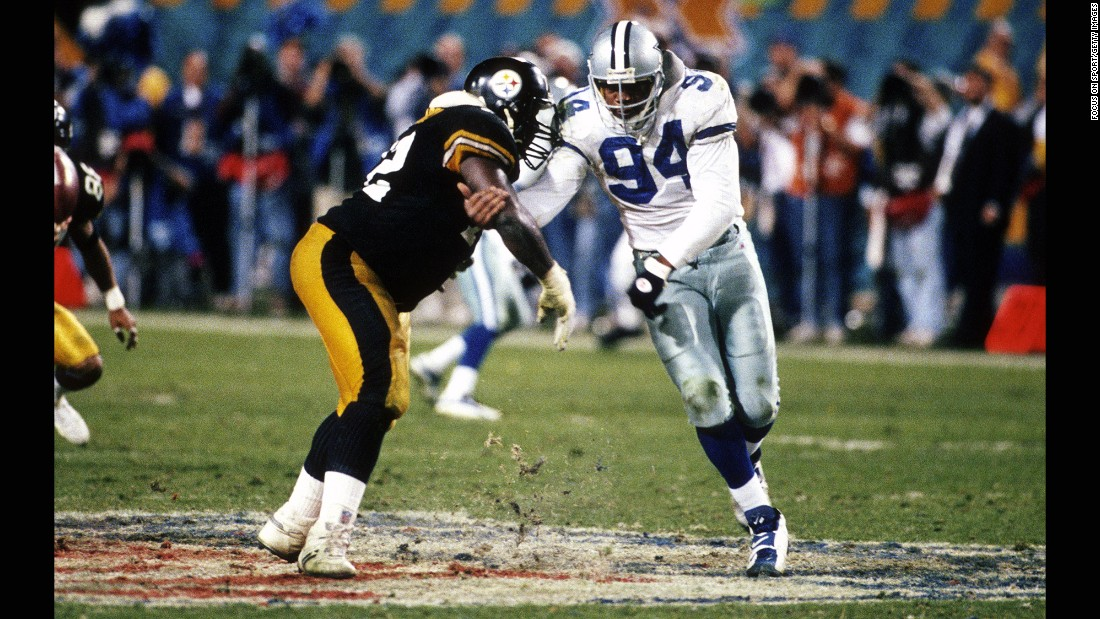 Defensive end Charles Haley (No. 94) played in five Super Bowls -- and he won every one of them. The first two came with San Francisco, while the last three came with Dallas in the 1990s.