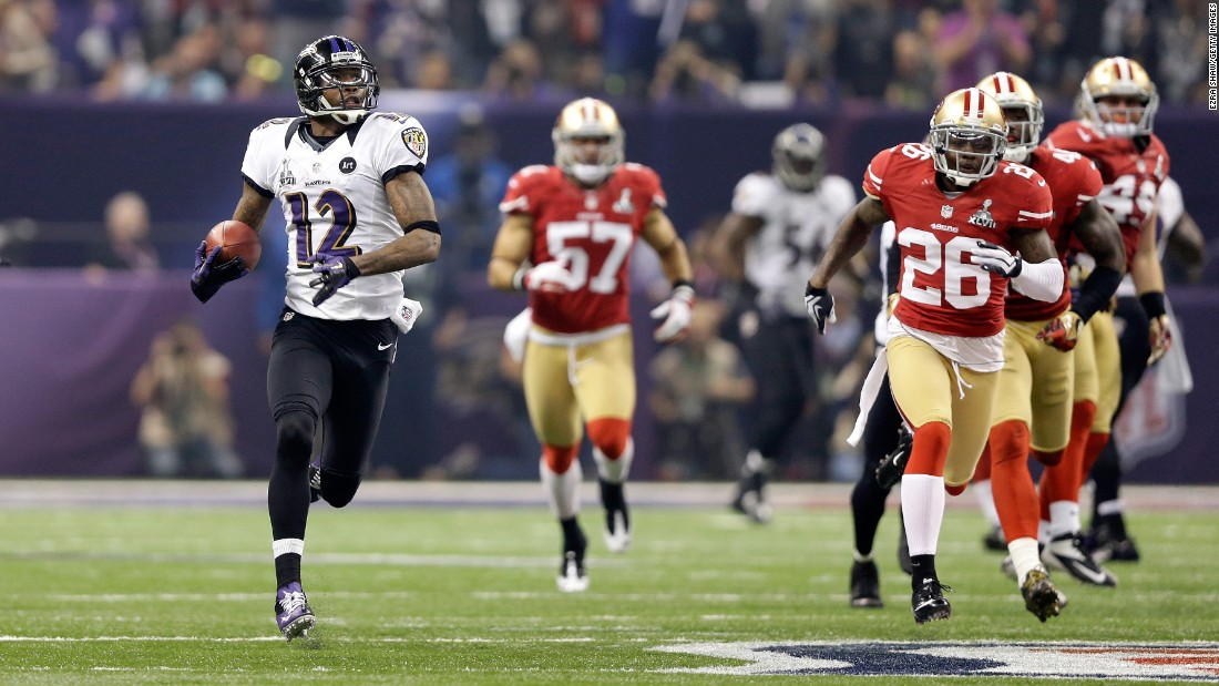 Baltimore's Jacoby Jones returned a kickoff 108 yards as the Ravens defeated San Francisco 34-31 in 2013.