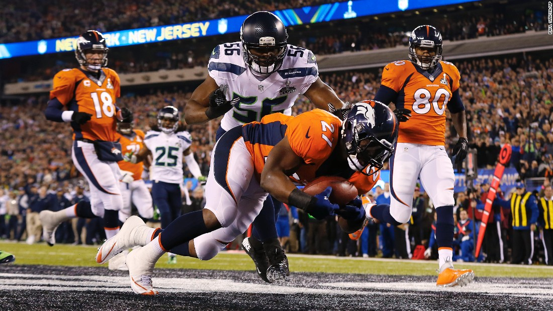 On the first play from scrimmage in 2014, Denver center Manny Ramirez snapped the ball past quarterback Peyton Manning. Denver's Knowshon Moreno recovered the ball in the end zone for a Seattle safety. Only 12 seconds had elapsed.