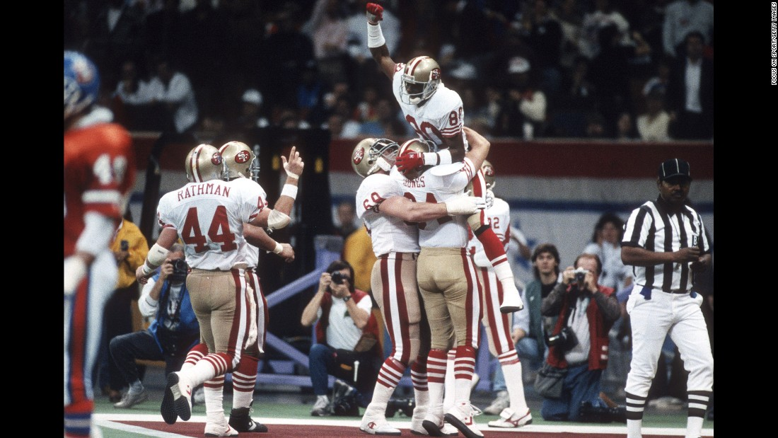 San Francisco demolished the Denver Broncos 55-10 in 1990, winning by a record 45 points. It was the 49ers' fourth Super Bowl title in nine years.
