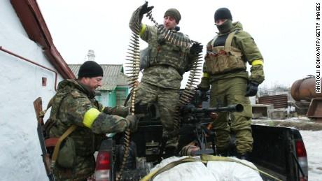 Ukrainian servicemen prepare ammunition at a position on the frontline near Mariupol on January 26.