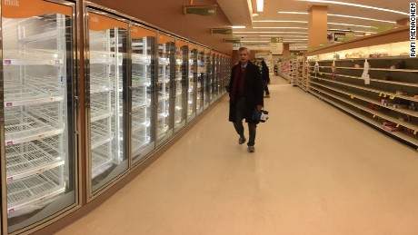 Shoppers clear the shelves at a Star Market in Boston