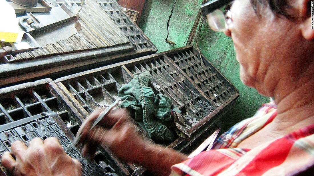 Just a handful of the old letterpress operators are left on Chitpur Road, a former center of India's printing industry. One of the better remaining examples is Bisjwanath Bag's press. Visitors can get Bag to compose a page by hand for $4.