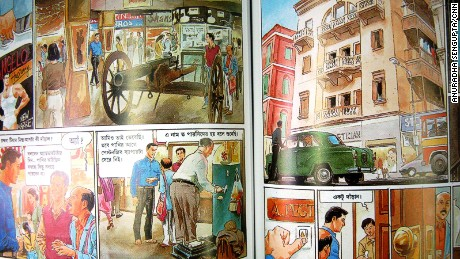 Bengali detective comic books starring iconic sleuth Feluda feature panels done in gorgeous watercolor.