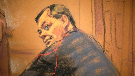 Evgeny Buryakov, seen here in a court sketch, has been accused of spying for Russia.