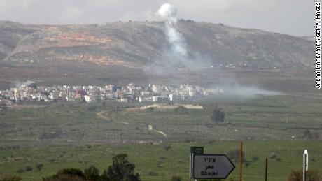 Smoke from an Israeli shelling rises over Al-Majidiyah, Lebanon, on January 28.