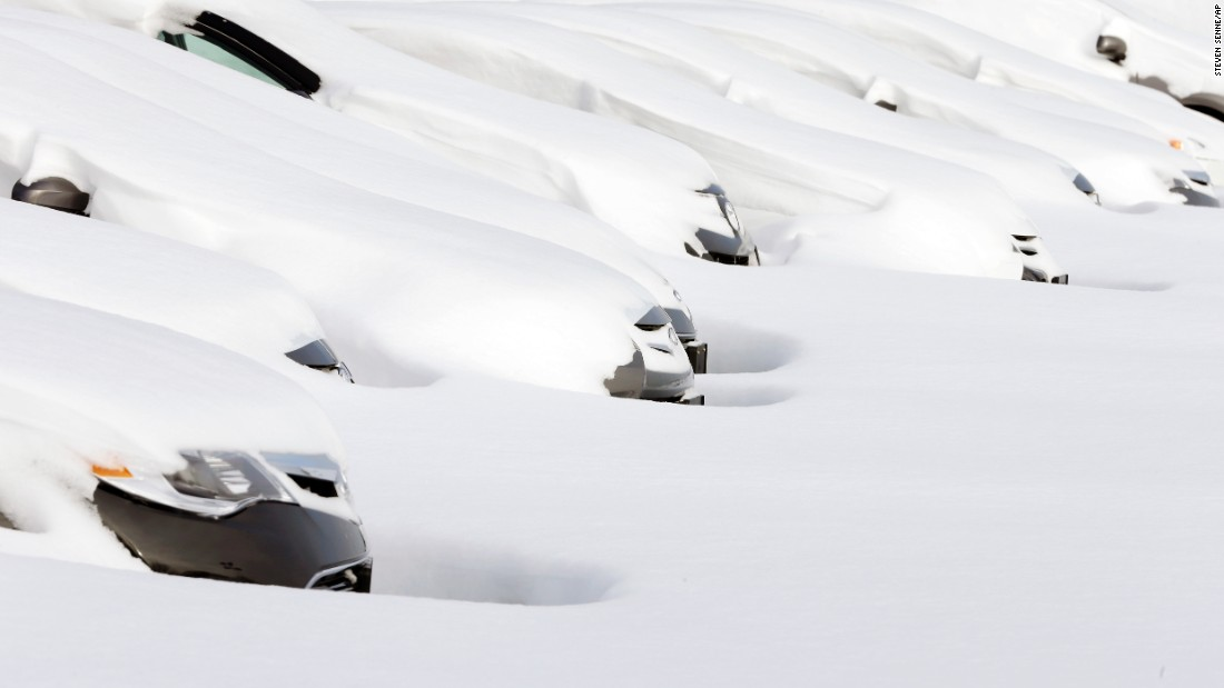 Cars in Norwood, Massachusetts, sit buried by snow drifts on January 28. The first blizzard of 2015 dumped nearly 3 feet of snow in parts of four Northeastern states. Massachusetts was hit the hardest.