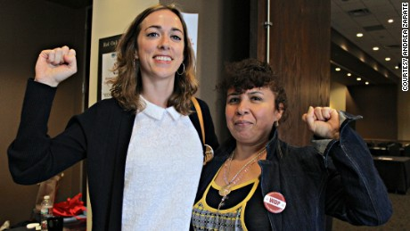 WeCon Austin 2014 panelists Brigid Hall (left) and Eva Marroquin from the organization Workers Defense Project.