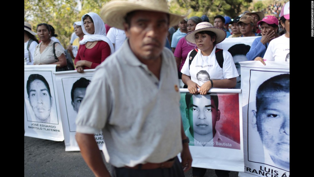 People gather during the protest in Ayutla on December 17.