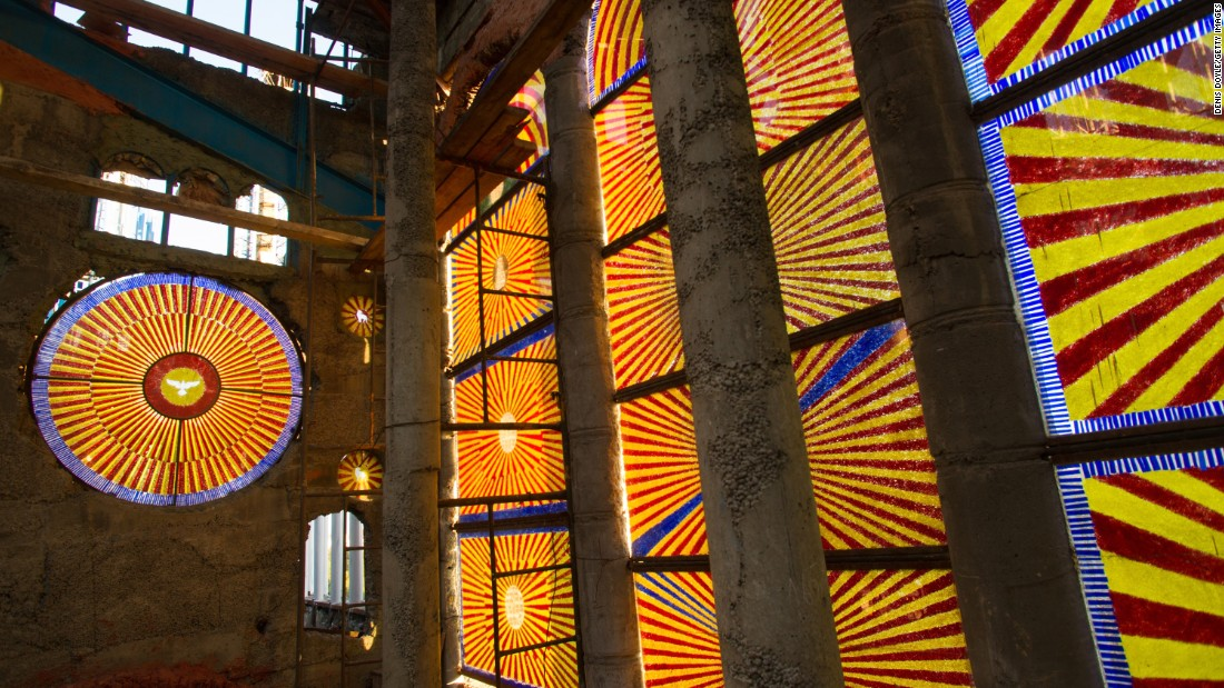 A colorful section of stain glass windows Gallego's cathedral. In a 2009 documentary, El Loco de la Catedral (The Madman and the Cathedral), Gallego described man's possibility to do amazing things if they have an ideal to strive for.