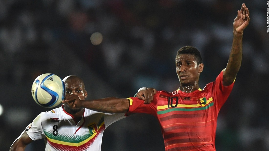 Guinea midfielder Kevin Constant, right, put his side ahead against Mali from the penalty spot -- but both teams went into a drawing of lots after neither could find a winner.