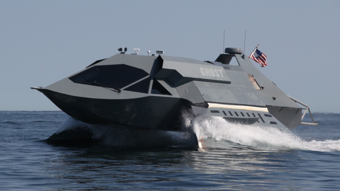 """Ghost"" is a prototype marine craft designed and developed by Juliet Marine Systems. The vessel cost $15 million to develop and can achieve speeds in excess of 50 knots (57 mph)."