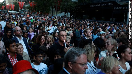 Hundreds of people attend a candlelight vigil in Sydney's Martin Place to call for mercy for Australians Myuran Sukumaran and Andrew Chan, January 29, 2015.