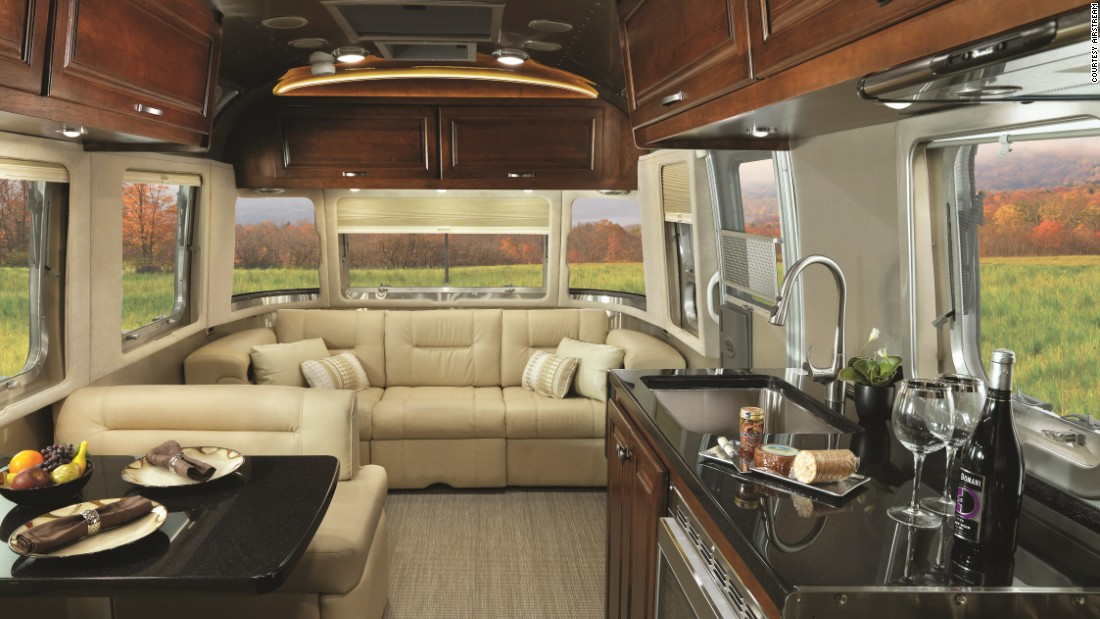 Inside, the $120,000 Airstream Classic has been remodeled for 2015 and features a queen-sized bed, dual recliners and  a walk-in closet.