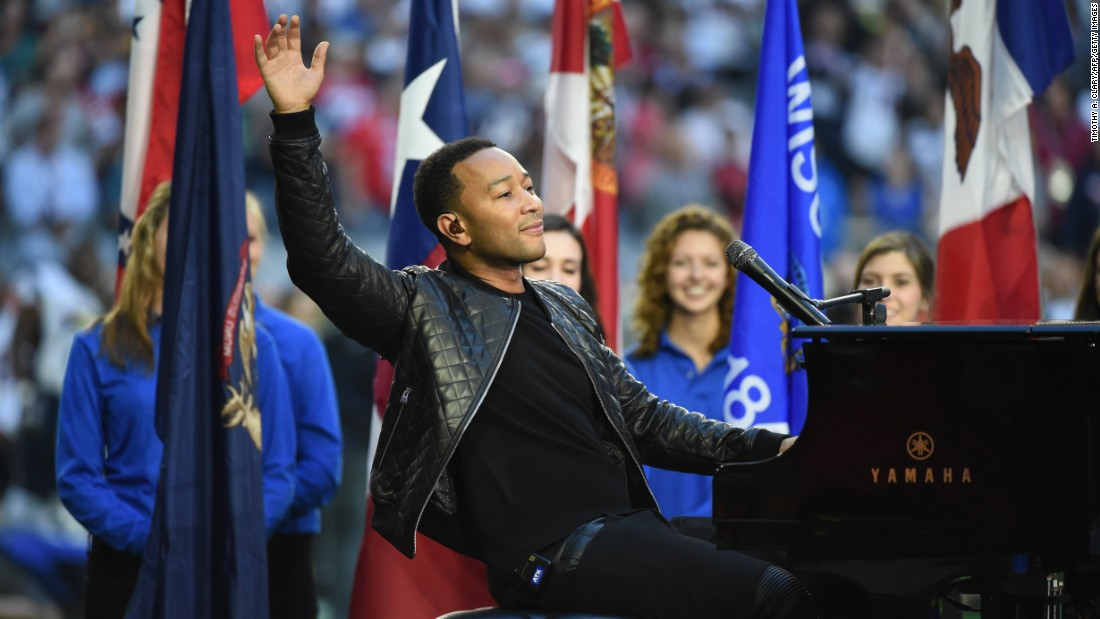"John Legend sang ""America the Beautiful."""