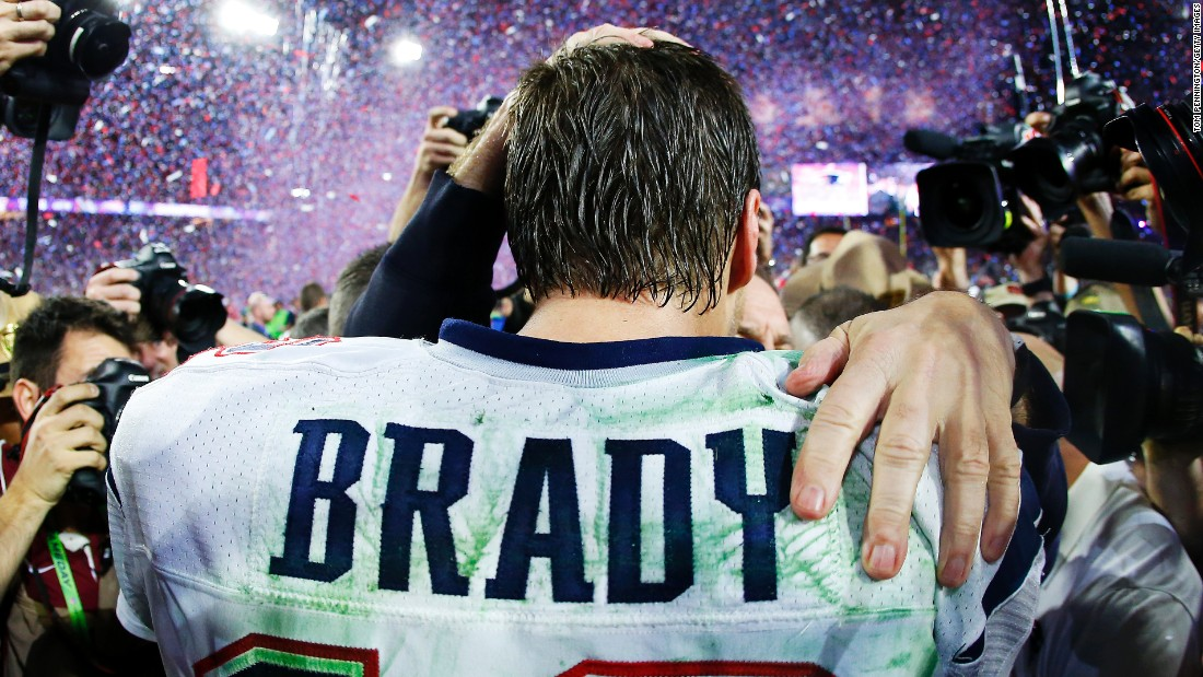 Brady was named the game's Most Valuable Player after throwing for 328 yards and four touchdowns.