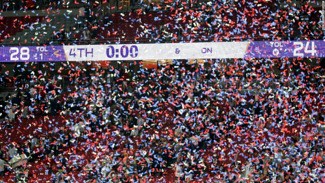 Confetti falls after the last second ticked off the clock.