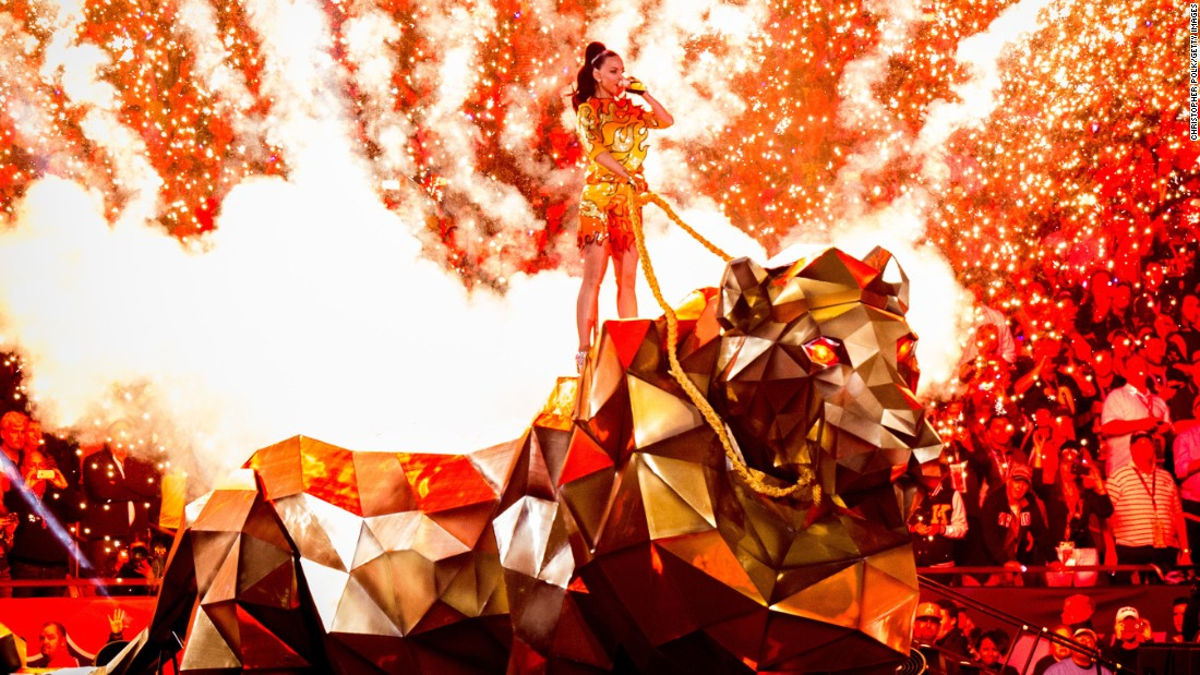 Perry performs at the Super Bowl XLIX halftime show in Glendale, Arizona, in February.