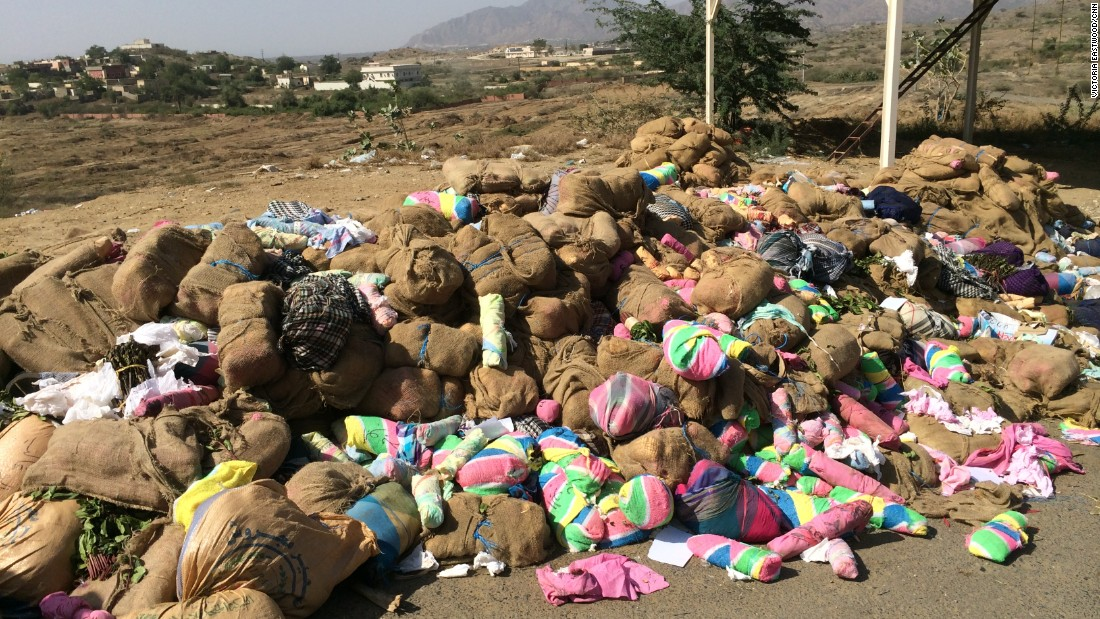 Several tons of qat lie piled up outside a guard post -- the haul of the past week, or so we were told.