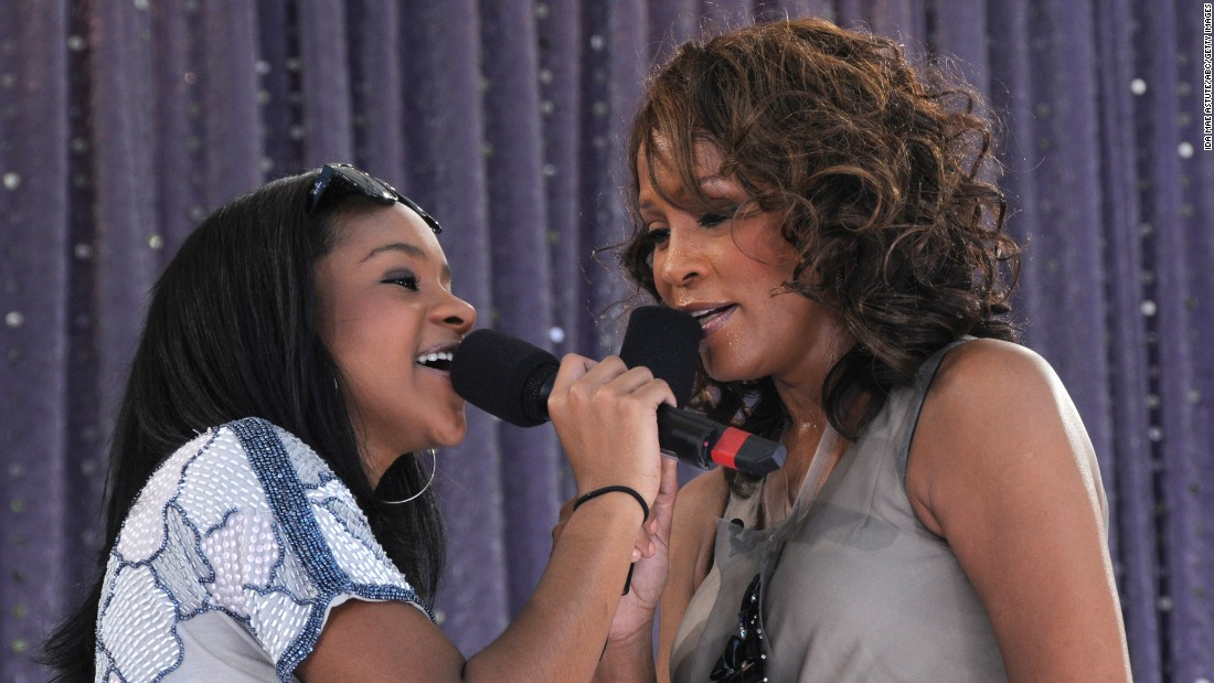 "Bobbi Kristina, 16, joins her mother for a 2009 appearance on ABC's ""Good Morning America."" The free performance was taped in New York's Central Park."