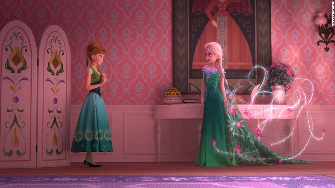"Elsa, looking notably more relaxed than she did in most of ""Frozen,"" is planning a celebration for Anna's birthday."
