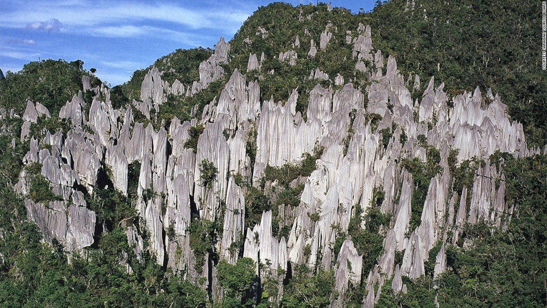 Gunung Mulu, a 2,377-meter-high sandstone pinnacle, dominates the park named after it. Within the park are at least 295 kilometers of spectacular caves with caverns. The largest is the Sarawak Chamber, which is 80 meters high.