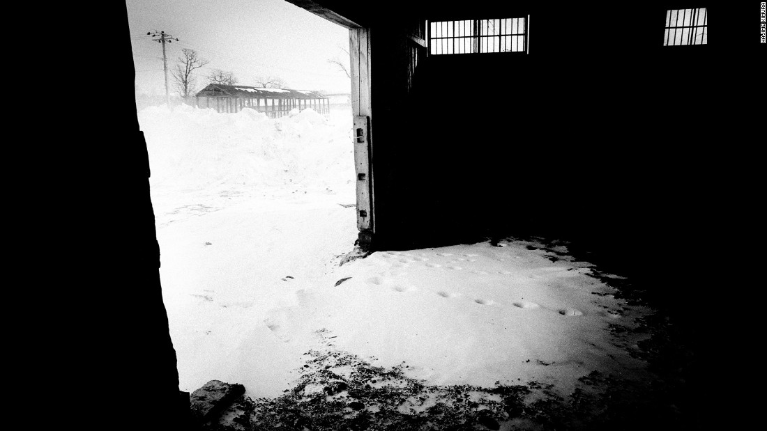 Horse tracks are seen on snow inside an empty stable.