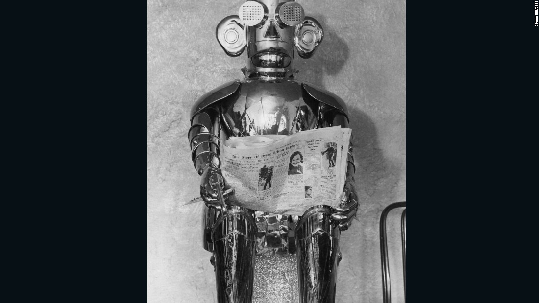"This ""mechanical man"" was called Alpha and it was built in 1932. He could talk, sing, whistle (for half an hour), laugh, carry on a conversation, tell the time and date, fire a revolver and read the small print of a newspaper."