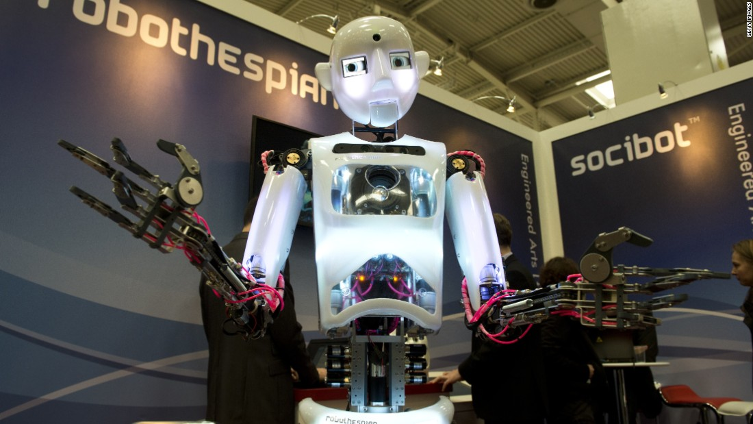 "Robothespian, a humanoid robot designed in the U.K., is an attempt at recreating the capabilities of a human being in a creative field. It has performed on stage several times as a ""mechanical actor""."