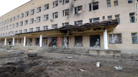 A picture taken on February 4, 2015 shows the hospital of Donetsk's Tekstilshik district after it was hit by a shelling. At least 12 people were killed in fighting between soldiers and pro-Russian separatists in east Ukraine, including four civilians who died when a hospital was hit in rebel stronghold Donetsk today. AFP PHOTO / DOMINIQUE FAGETDOMINIQUE FAGET/AFP/Getty Images