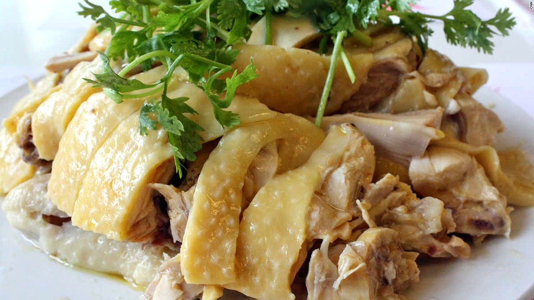 In China, meat attached to the bones is considered the best. The spring chicken is boiled until tender, then chopped up and served with dipping sauce.