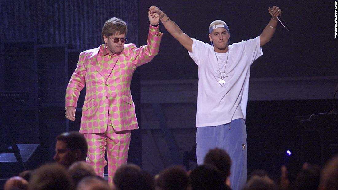 "Elton John and rap artist Eminem seemed to be the oddest of pairs, given the rapper's well-known homophobic lyrics and comments. But the two came together to perform Eminem's song ""Stan"" at the 43rd Annual Grammy Awards in 2001."