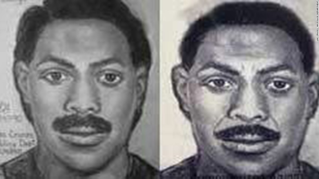 Composite sketches of the younger suspect from 1990 (left), and what police think he would have looked like in 2005.