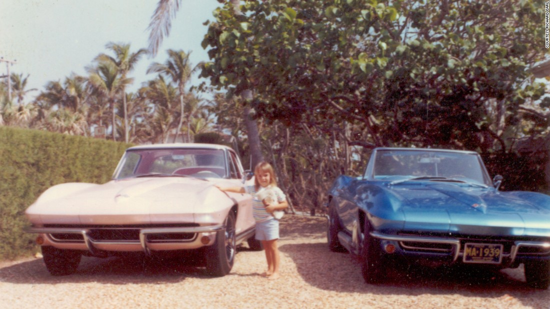 Harley and his wife, Sue Earl, owned his-and-her custom-made 'Vettes. Harley's granddaughter Alexandra poses with them at the Earls' home in Palm Beach, Florida. The Earls' had his-and-her GM cars since 1927, said Earl's grandson, Richard Earl.