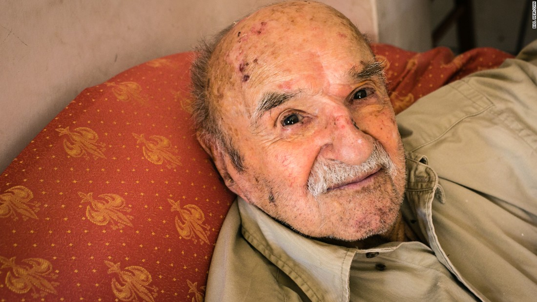 "Konstantinos Spanos, 103, lives in Ikaria, a Greek island with a reputation for long-lived residents. Sponos said the key to his long life is modesty in everything, including ""food, women and entertainment,"" although he might also want to add reading. He reads five hours a day."