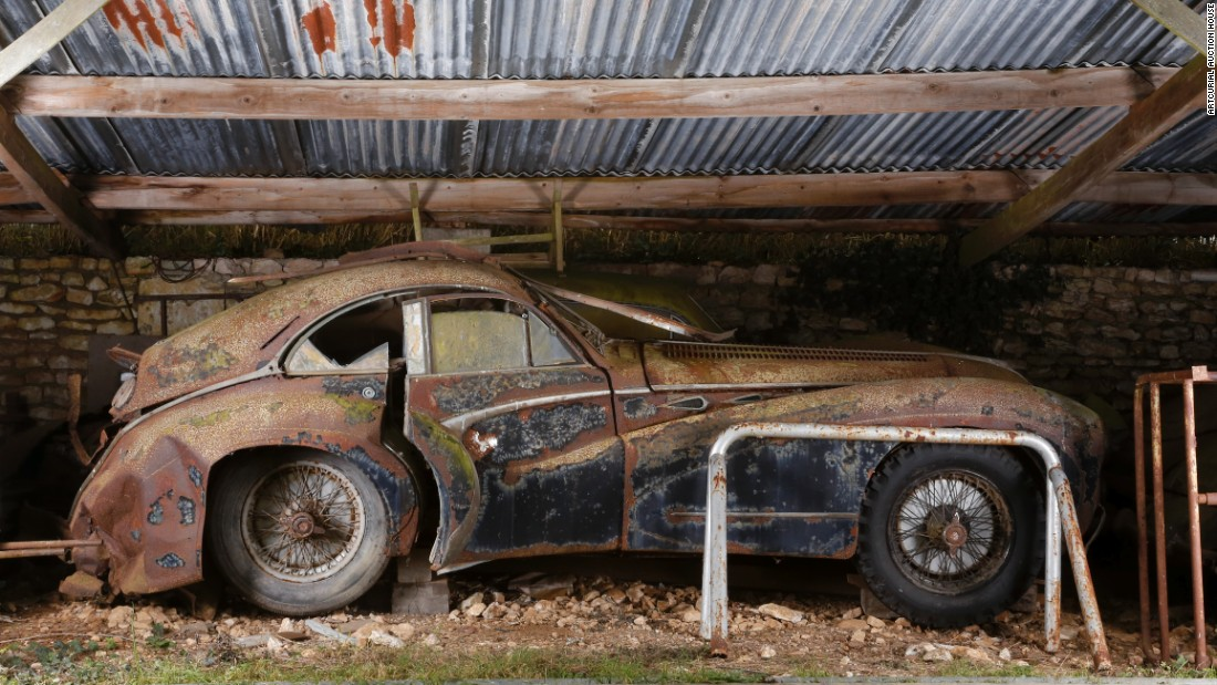 the rear of the talbot lago t26 grand sport coup had caved in giving it - Rusty Old Cars For Sale