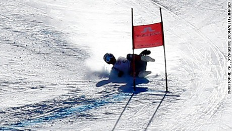 Bode Miller crashes during a Super-G event on Beaver Creek.