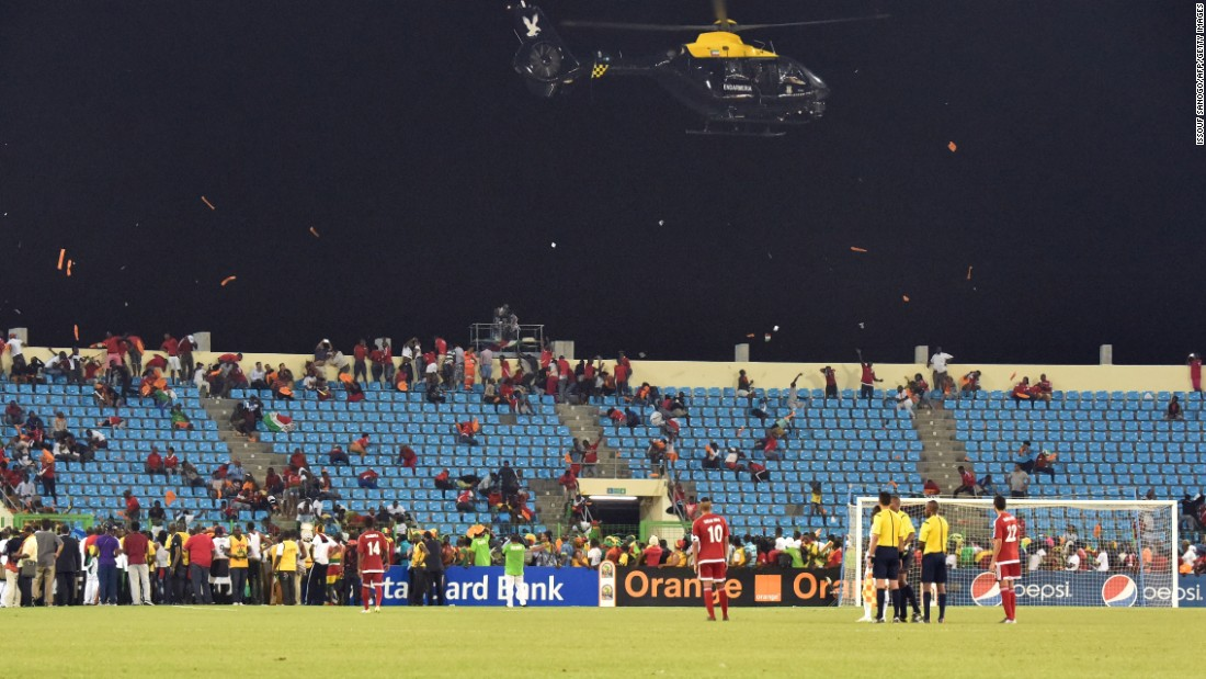 Ghana advanced to the Africa Cup of Nations final after beating Equatorial Guinea 3-0. The game, however, had to be stopped at one point due to crowd trouble that led to a police helicopter intervening.