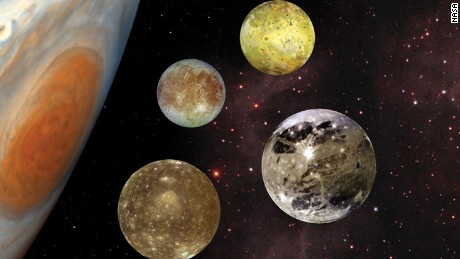 Galileo Galilei spotted Jupiter's four great moons in 1610: Io, Europa, Ganymede and Callisto.