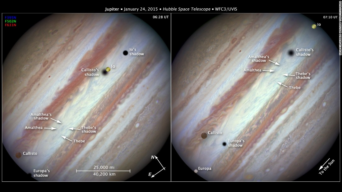 The Hubble Space Telescope captured images of Jupiter's three great moons -- Io, Callisto, and Europa -- passing by at once.