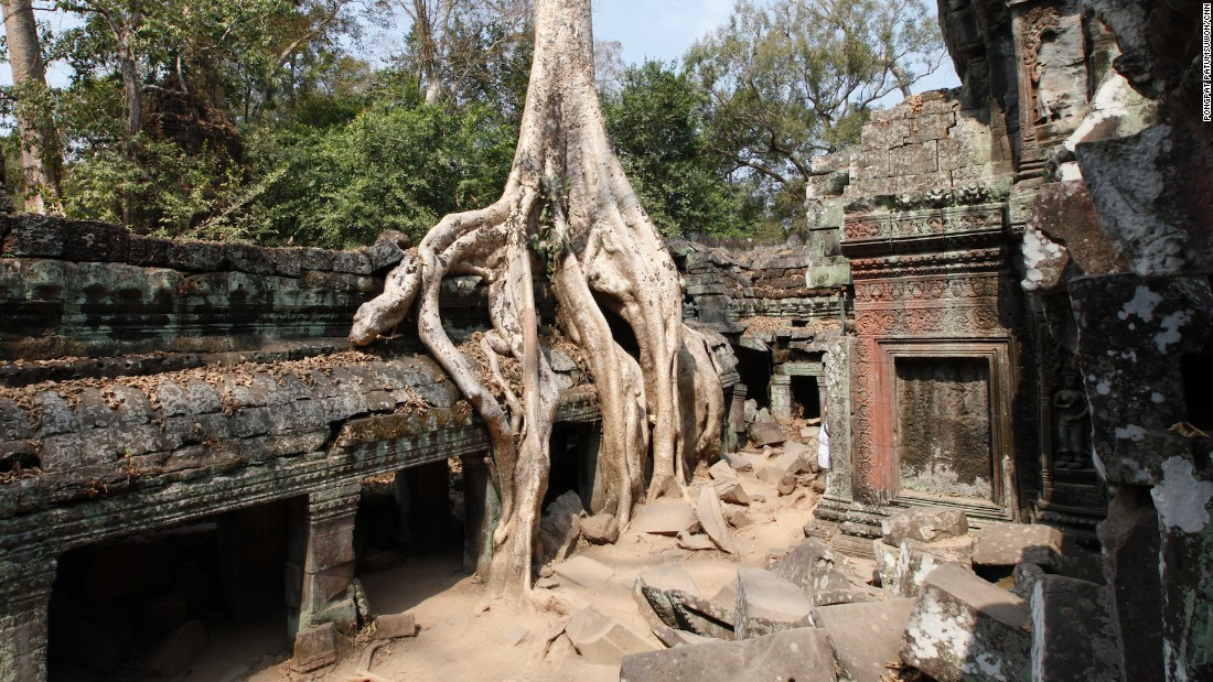 Some parts of Ta Prohm are blocked off to tourists. Archaeologists have had to strengthen certain sections of the ruins with supports out of fear they would collapse.