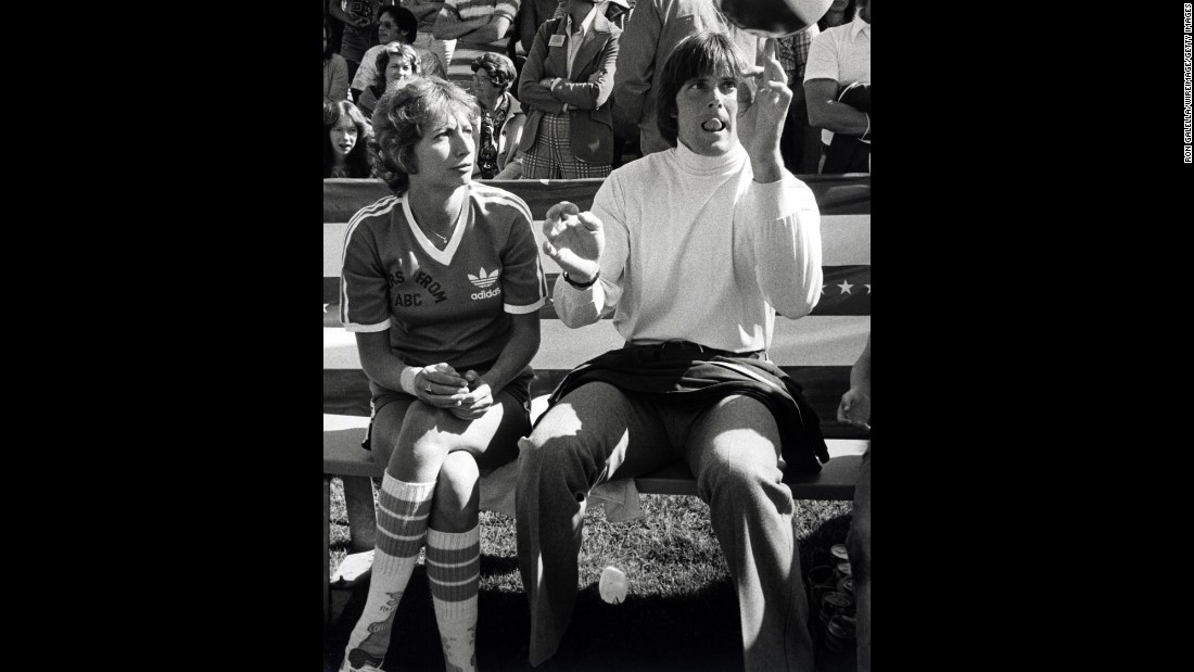"Jenner quickly found work in television. Here, Penny Marshall and Jenner take part in a taping of the ""Battle of the Network Stars"" TV show on February 5, 1977."