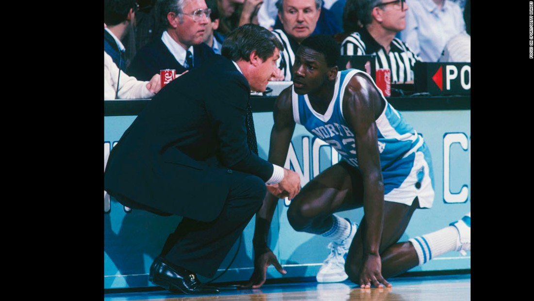 Smith's most famous young prodigy had to be Michael Jordan, seen talking to Smith during a game in the 1980s. After playing on Smith's 1982 national championship team, he'd go on to win six NBA championships with the Chicago Bulls.