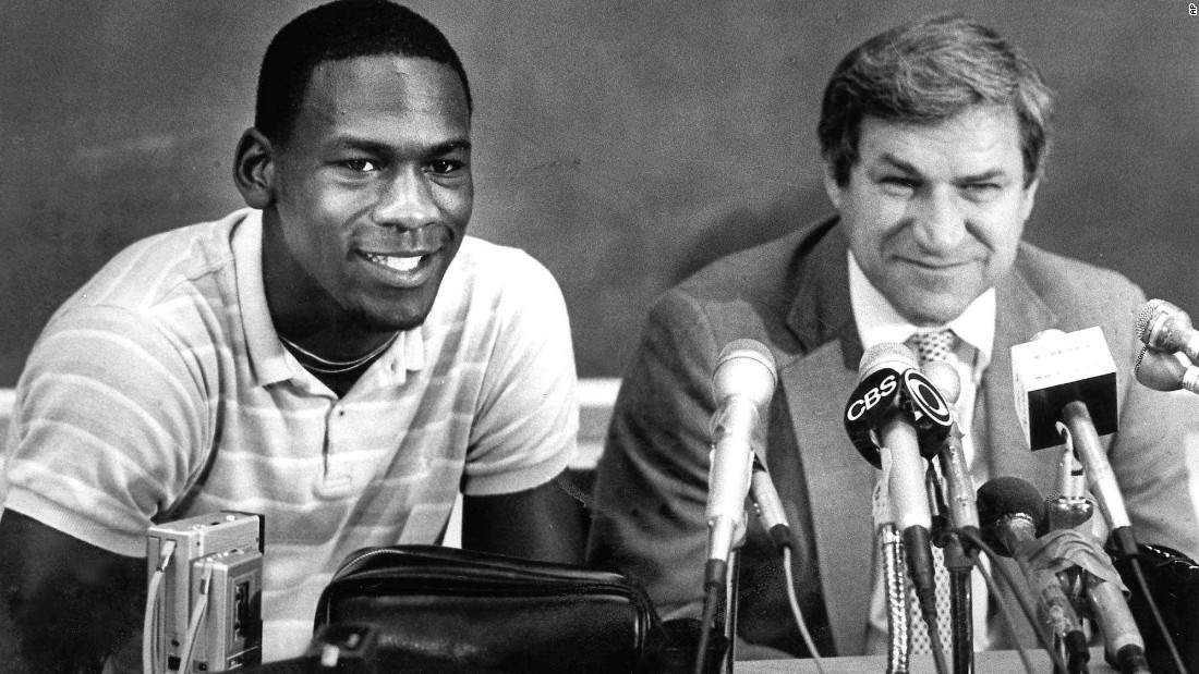 Jordan and Smith are shown at a news conference on May 5, 1984, in Chapel Hill, where Jordan announced he would turn pro. The Bulls took him with the third pick.