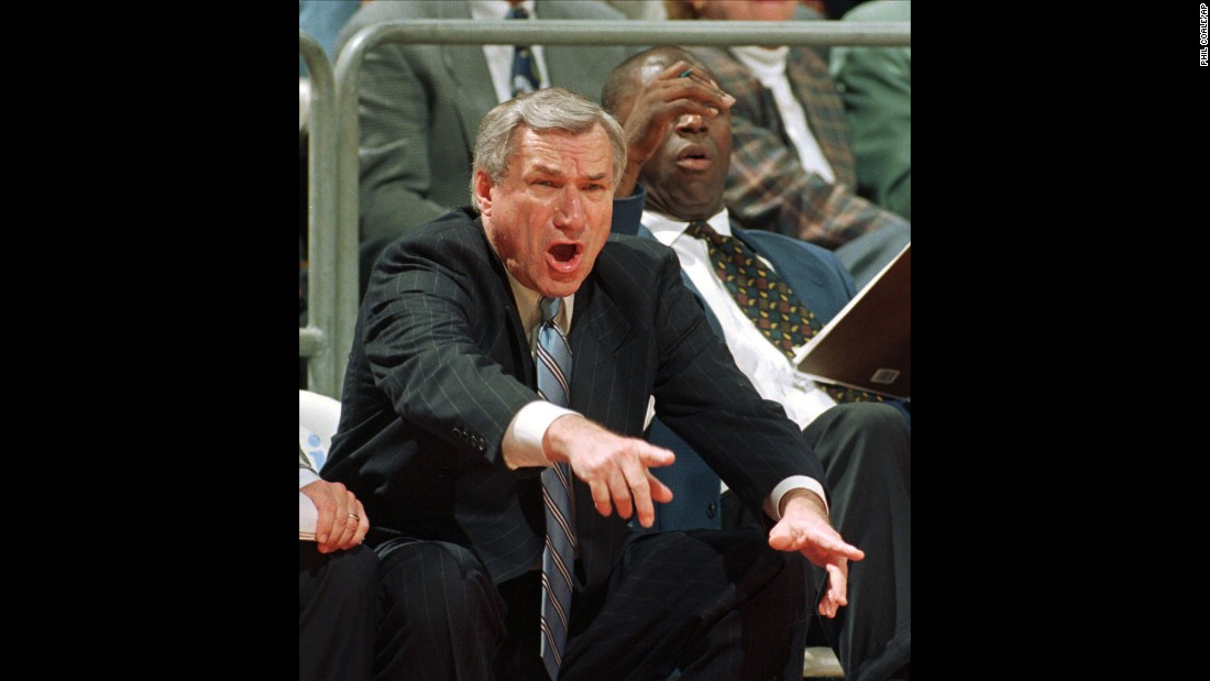 Dean Smith yells at his players on January 22, 1997, during a game against Florida State in Tallahassee, Florida. The former UNC coach is considered a master tactician, even by those who were rivals during his 36-season career as a head coach.