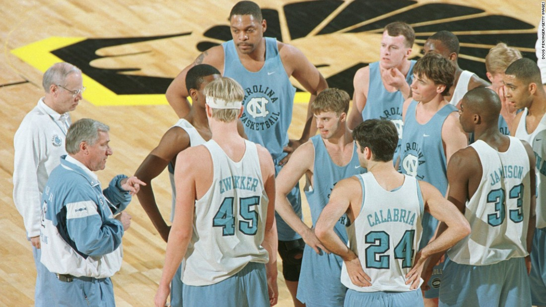 Smith and assistant coach Bill Guthridge run a practice at the Richmond Coliseum as they prepared to face New Orleans in the first round of the NCAA East Regional on March 14, 1996. Smith took UNC to the NCAA Tourney 27 times in his career.