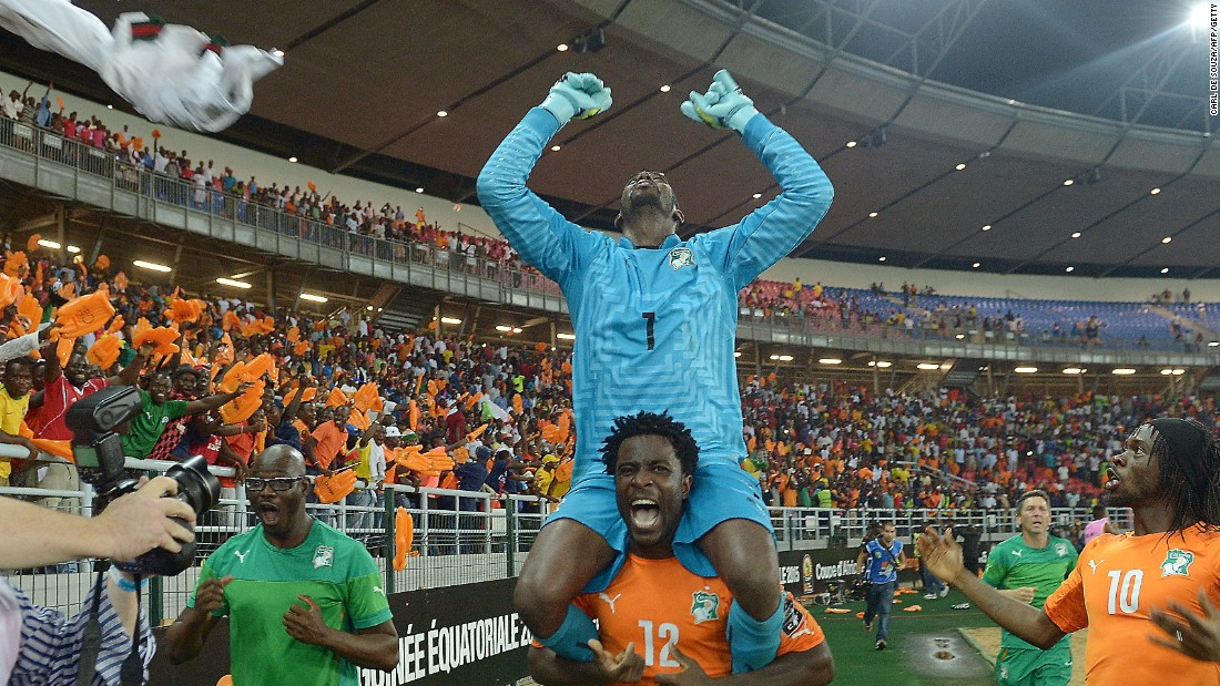 Ivory Coast hero Boubacar Barry is lifted on the shoulders of Wilfried Bony after his team's victory in the Africa Cup of Nations final over Ghana. Barry scored the winning penalty in the 9-8 shootout win.