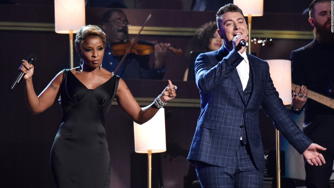 "Mary J. Blige and Sam Smith perform Smith's ""Stay With Me,"" which won the Grammys for Song of the Year and Record of the Year."