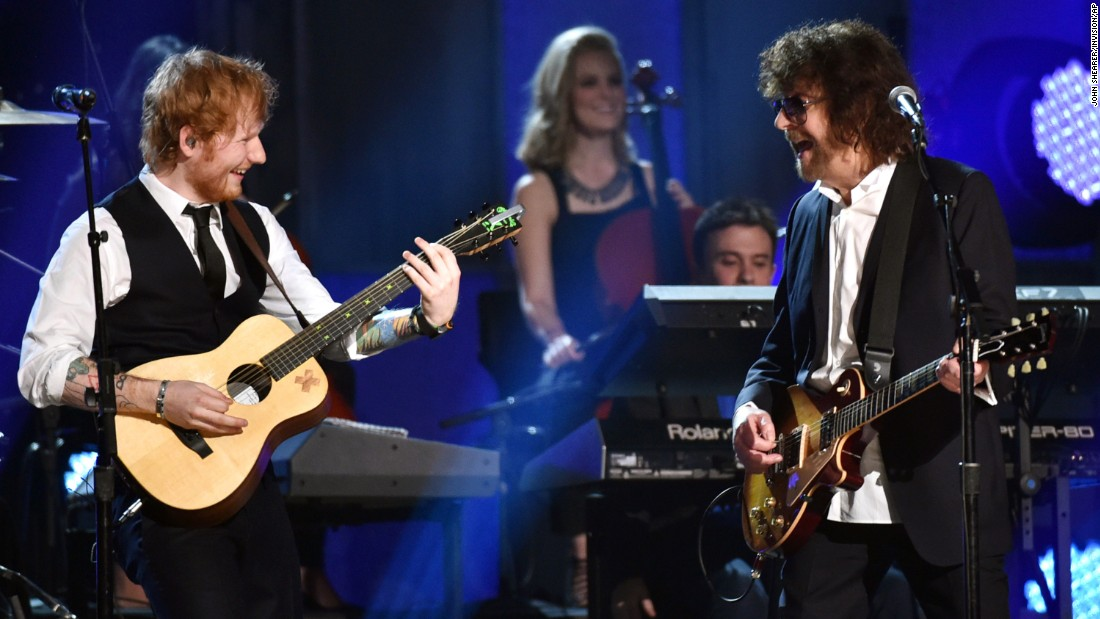 "Ed Sheeran plays guitar with Jeff Lynne and the Electric Light Orchestra for ""Mr. Blue Sky."""